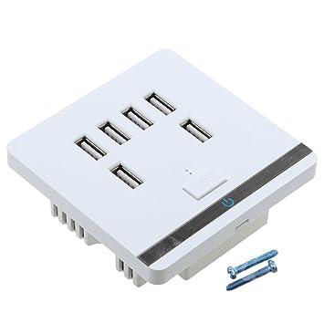 Gazechimp Panel de Placa de Pared Cargador Enchufe de Corriente Entrada de USB Interruptor 3.4A 6 Puerto Fácil de Instalar
