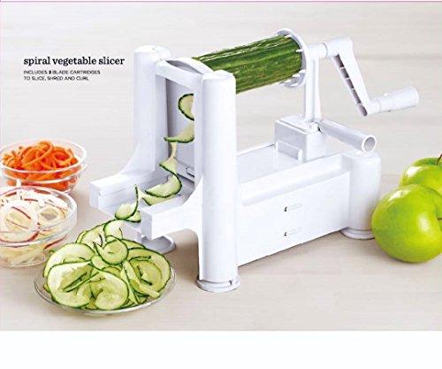 Go Kitchen Hero Spiralizer - Tri Blade Stainless Steel Vegetable Spiralizer.