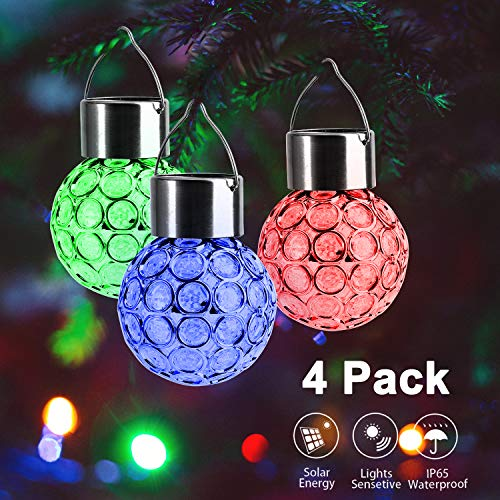 Beinhome Hanging Solar Lights (4Pcs), Multi Color Auto Changing Solar Lanterns Outdoor Hanging - Solar Lights Outdoor Decorative for Garden Patio Porch - Auto Sensor On Off Solar Lantern