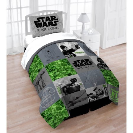 Soft and Trendy Star Wars Rogue One Bedding Twin/Full Quilt and Sham Set, Gray/Green