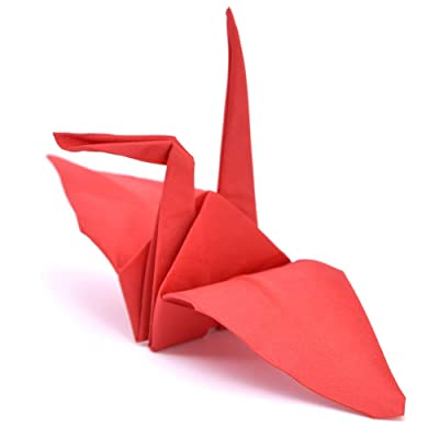 SUMAG Origamagic Magic Trick - Magic Origami Paper for Kids - Scarves to Paper Crane Trick for Magician (Red): Kitchen & Dining