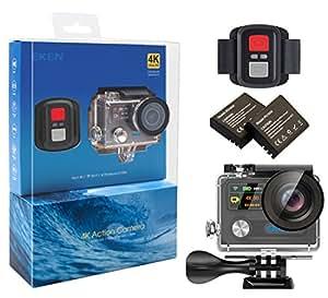 EKEN H8R Wifi Cámara Deportiva Impermeable con 2 Batería 4K30fps Sony Sensor + 2.4G Control remoto + Selfie palillo + base de carga (Black)