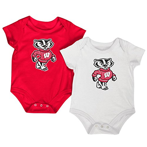 Colosseum NCAA Short Sleeve Bodysuit 2-Pack-Newborn and Infant Sizes-Wisconsin Badgers-3-6 Months -