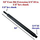 "MTP 12″ Extension Core Drill Bit Adapter 5/8″-11 Thread Male to 1/2"" Hex Shank Power Drill / Hammer"
