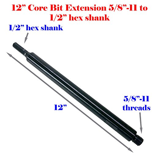 """Cheap MTP 12″ Extension Core Drill Bit Adapter 5/8″-11 Thread Male to 1/2"""" Hex Shank Power Drill / Hammer"""