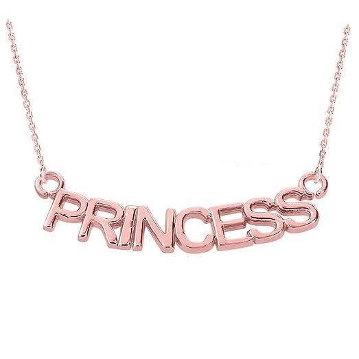 Amazon 14k rose gold princess pendant necklace 16 jewelry 14k rose gold quotprincessquot pendant aloadofball Choice Image