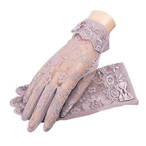MoonEver Women's Short Elegant Lace Gloves Touch Screen No-Slip Summer Gloves, S3: Rosedust, One Size