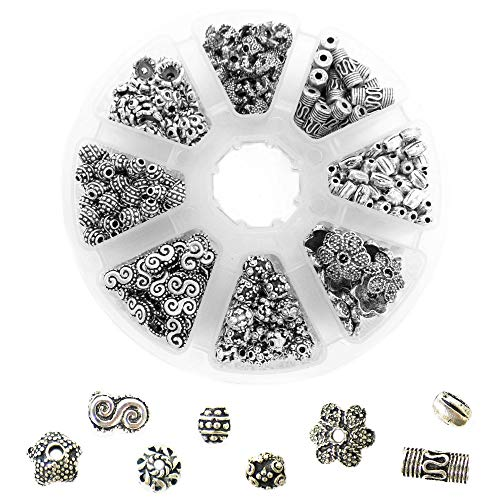 450 PCS Tibetan Bali Antique Silver Metal Spacer Beads for Jewelry Making Adults, 8 Style Large Hole Beads for DIY Bracelets & Necklace, Bulk Alloy Bead Spacers Findings Bead Assortment w/Organizer