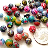 Beading Station 100-Piece BSI Colorful Polymer Clay Round Beads, 6mm
