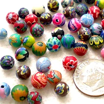 6fdec46d7c82 Amazon.com  BSI - 100 Pcs Colorful Polymer Clay Round Beads 6mm 1 4 ...