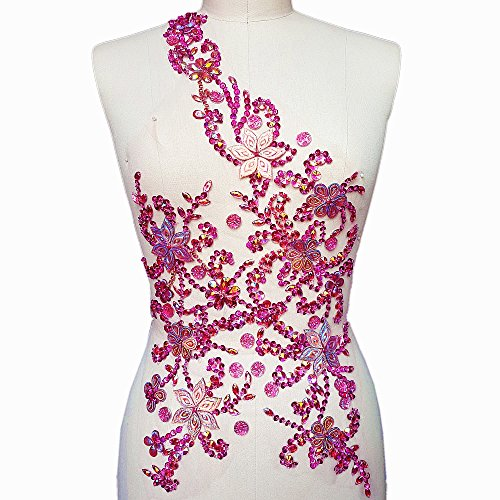 Noble Pure Handmade Beaded Crystal Rose Red AB Patches Sew on Rhinestones with Stones Sequins Beads Applique Designs Patches Sewing for DIY Wedding Dress Trim 30x60cm (Pink)