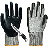 Cut Resistant Gloves, Non-Slip Breathable Work Gloves, Level 5 Puncture Cut Abrasion Protection Safety Gloves, Excellent Grip Durable for Gardening Construction Mechanic Heavy Duty Multipurpose Use.