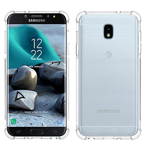 Samsung Galaxy J7 2018/J7 V 2nd Gen/J7 Aero/J7 Top/J7 Aura/J7 Crown/J7 Refine/J7 Eon/J7 Star case, PUSHIMEI Soft TPU Brushed case Cover for Samsung SM-J737/J737V/J737T (Clear Brushed)