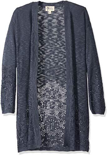 (AJ by Andrea Jovine Women's Open Stitched Border Duster Cardigan Sweater, Indigo, Large )
