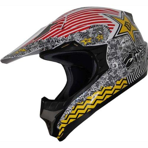 High Quality DOT Dirt Bike ATV Motocross Helmet red yellow 127 (M)