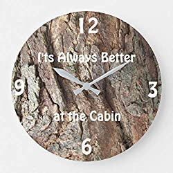 Log Cabin Country Home Tree Bark Shabby Chic Wood Clock for Home Decor Wall Art Hanging Non-Ticking Silent Wall Clock 14 inches