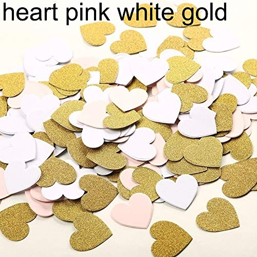 (longdelaY6 Wedding Decoration, 100Pcs 3cm Dots Heart Star Paper Confetti DIY Wedding Party Table Glitter Decor - Heart Pink White Gold)