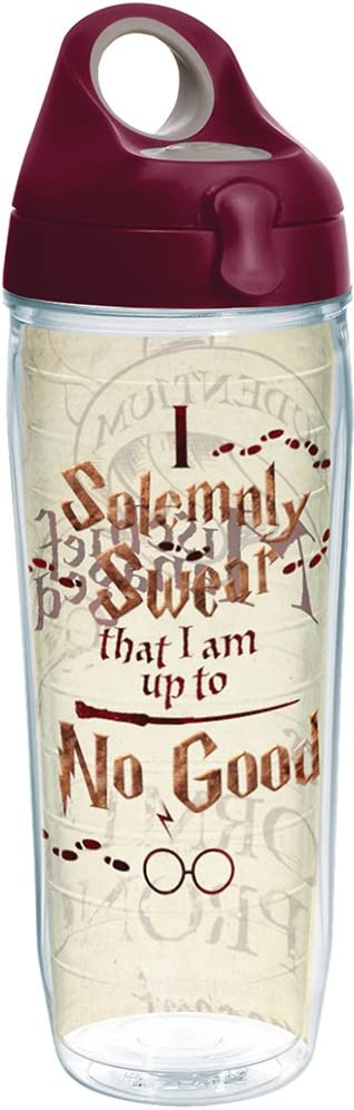 Tervis Harry Potter-I Solemnly Swear That I Am up to No Good Insulated Tumbler with Wrap and Maroon Lid, 24oz Water Bottle, Clear