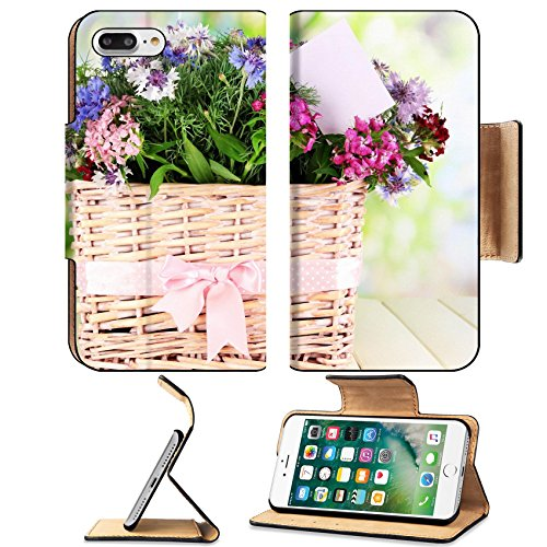 MSD Premium Apple iPhone 7 Plus Flip Pu Leather Wallet Case IMAGE ID 20507274 Beautiful bouquet in basket on wooden table on natural background