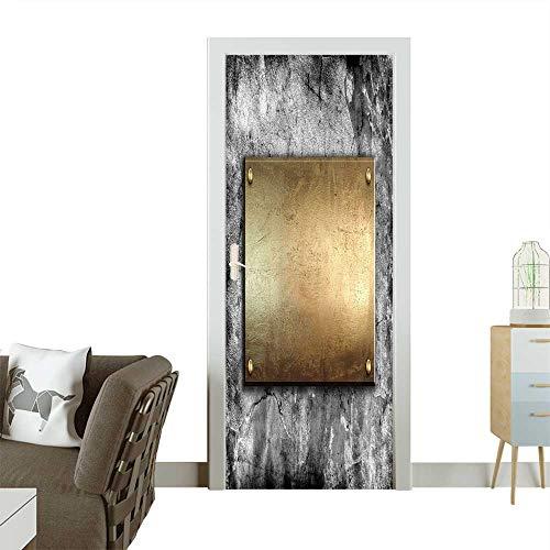 - Homesonne Door Decals Golden Metal Plate on Concrete Wall Pressure Resistant W35.4 x H78.7 INCH