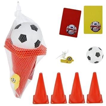 Juego de fútbol (conos, Fútbol, Árbitro peife amarillas ...
