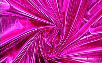 Cerise Pink – Tela de lycra de alta calidad, lisa, metálica, aspecto mojado