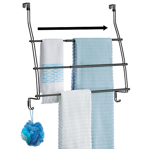 mDesign Expandable Over Door Towel Rack with Three Tiers and Hooks for Bathroom, Shower - Matte Black