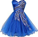 Metallic Peacock Embroidered Holiday Party Homecoming Prom Dress, Medium, Light-Royal