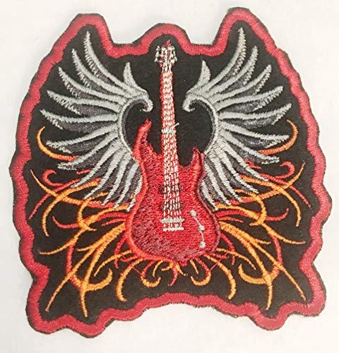 Custom and Unique Strings with Wings Flaming Guitar - Iron On Embroidered Applique Patch {Reds - Oranges - Gray}