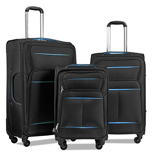 Luggage Set Suitcase Set 3 Piece Luggage Lightweight Soft Shell with 4 Rolling Spinner Wheels Super Durable (20 inch, 24 inch, 28 inch) (Black & blue)
