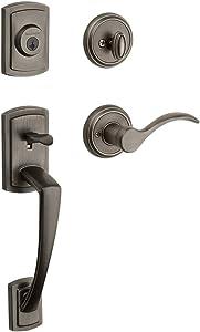 Baldwin Nautica Single Cylinder Front Door Handleset Featuring SmartKey Security in Slate, Prestige Series with Traditional Door Hardware and Tobin Lever