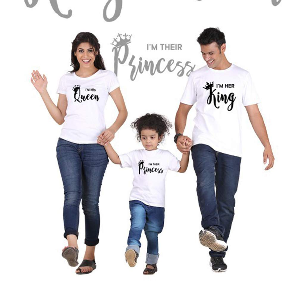 Family Matching Short Sleeve King Prince Printed Outfits Parent-Child Clothes,Daddy Mommy Kids Match T-Shirts Family Clothes Sets