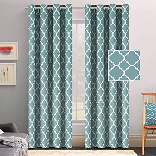 Amazon Com Flamingo P Thermal Insulated Blackout Curtains Living Room Curtains 2 Panel Sets Window Curtains 96 Inch Length Energy Efficient Grommet Window Curtain Panels Smoke Blue Pattern Home Kitchen