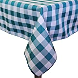 Ultimate Textile (10 Pack) 72 x 120-Inch Rectangular Polyester Gingham Checkered Tablecloth - for Picnic, Outdoor or Indoor Party use, Teal and White