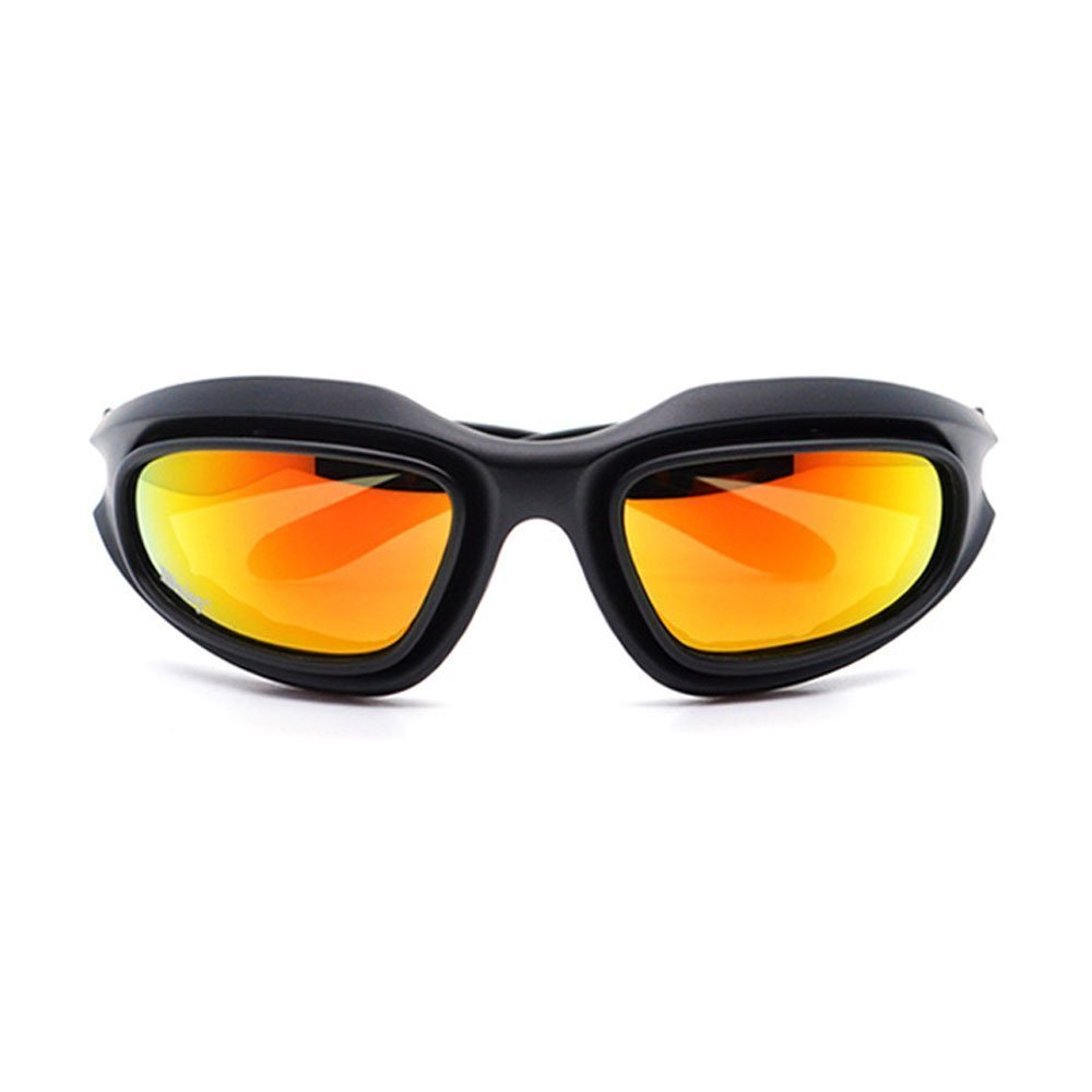 UIM-Shop Polarized Field Motorbike Driving Riding Ski Goggles Glasses -Padded Motorcycle Mirrors Set Black Frame with 4 pair of Lenses by UIM-Shop (Image #2)