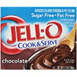 Jell-O Cook and Serve Pudding and Pie Filling, Sugar-Free, Fat Free, Chocolate, 1.3-Ounce Boxes (Pack of 6)