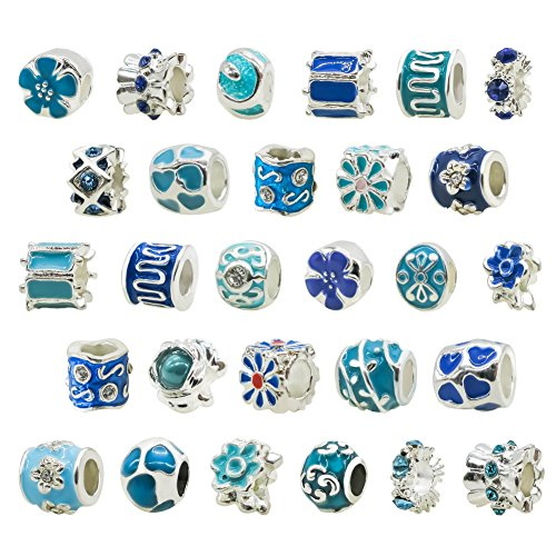 TOAOB 20pcs Blue Metal Lampwork Beads Large Hole European Beads Mix Charms