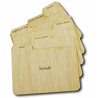 Cookbook People Wood Recipe Card Dividers 4x6 with Tabs