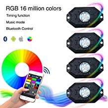 KAWELL multi-color RGB Rock Light Kits with Wireless Remote Control For Vehicle Interior and Exterior Off Road Trucks Under Car ATV SUV Jeep 4x4 Boat 4wd ATV Motorcycle - Waterproof Shockproof ( 9W 630LM RGB 4 Pack )
