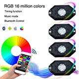 Automotive Accessories Exterior Truck Best Deals - KAWELL multi-color CREE RGB LED Rock Light Kits with Wireless Remote Control for Cars Truck Exterior 4 Wheeler ATV SUV Jeep Mine Boat Motorcycle Waterproof Shockproof Neon Replacement ( 4 Pack )