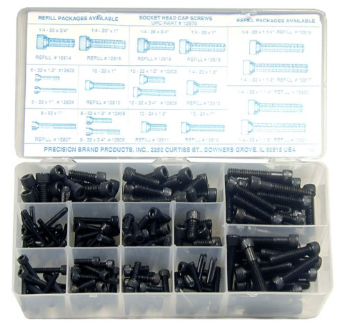 Alloy Steel Socket Cap Screw Assortment with Internal Hex Drive (190 Pieces), Plain Finish, Inch, With Case
