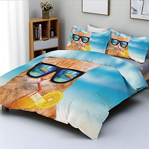 Duplex Print Duvet Cover Set Full Size,Cat Wearing Sunglasses Relaxing Cocktail in the Sea Background Summer Kitty ImageDecorative 3 Piece Bedding Set with 2 Pillow Sham,Blue Ginger,Best Gift For Kids