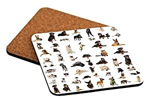 """Rikki Knight """"Dogs Puppies and Cats Design"""" Square Beer Coasters"""
