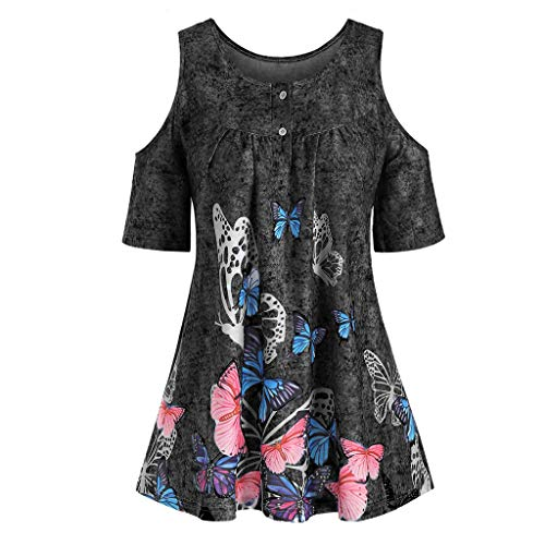 T Shirts Cold Shoulder Tops Basic Plus Size Fashion Women Butterfly Printed O-Neck Short Sleeve T-Shirt Tops (XL,7- Black)