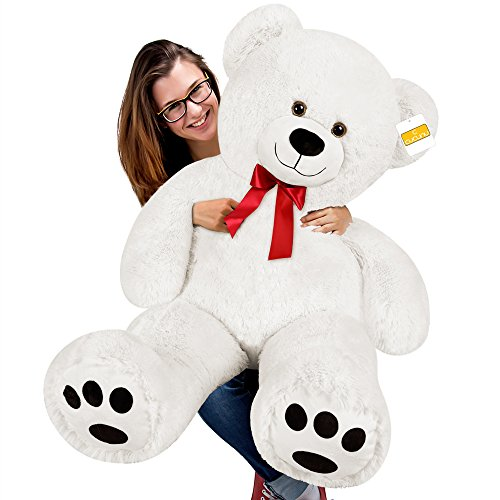 cucunu Big Teddy Bear Stuffed XL Plush Animal Large 3.3 ft for Kids and Adults with Big Pawprints and Eyes 40 Inch – -