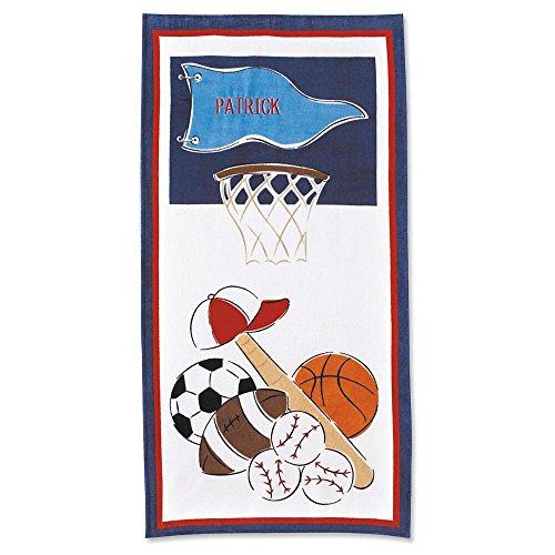 Lillian Vernon Kids Personalized Sports Jumbo Cotton Beach Towel for Boys by 100% cotton, Custom embroidered -30
