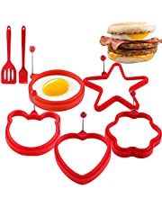 Non Stick Silicone Egg Ring,5-Pack Egg Cooking Rings with Oil Brush & Pancake Shovel,Egg Mold Rings for Fried Egg McMuffin Sandwiches,Frying Eggs,Breakfast Household Kitchen Cooking Tool Omelette