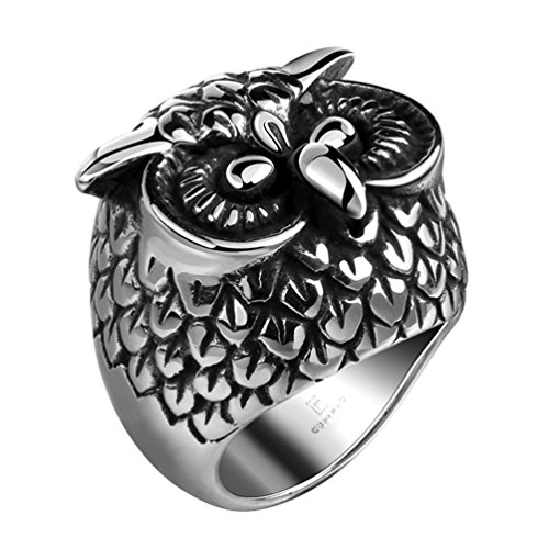 stainless steel owl ring - 5