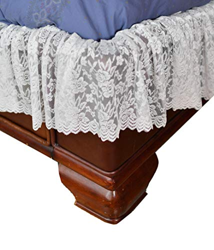 Home-X - White Lace Scalloped Elastic Bed Wrap Around, Easy Fit, Dust Ruffle Bed Skirt   Queen/King