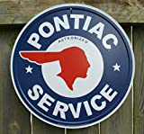 Pontiac Authorized Service Car Dealer Logo Round Retro Vintage Tin Sign - 12x12 , 12x12
